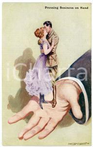 1918 LOVERS Pressing business on hand - Vintage Postcard FP NV
