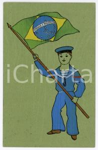 1913 BRAZIL - Child in uniform with the flag of Brazil - Postcard