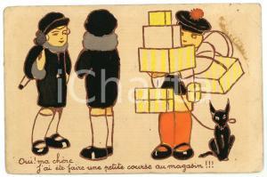 1930 ca FRANCE CHILDREN J'ai été faire une petite course au magasin - Postcard