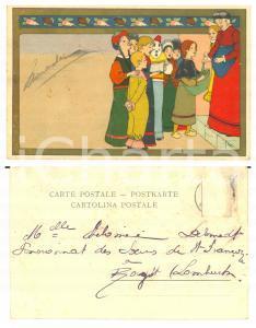 1900 ca BELGIQUE Aumône au chœur - Postcard Lith. O. De Rycker & Mendel