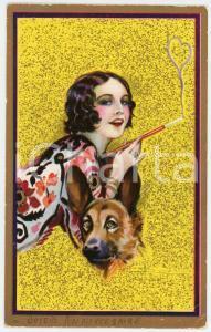 1920 JOYEUX ANNIVERSAIRE Artista Adolfo BUSI Donna con pastore tedesco Cartolina