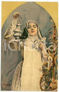 1900 ca Artista Basilio CASCELLA L'incenso - Suora con turibolo - Cartolina FP