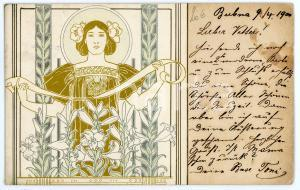 1900 ART NOUVEAU Lady with lilies - RARE Illustrated postcard