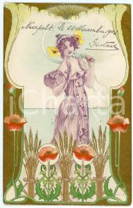 1902 ART NOUVEAU Lady with poppies - Illustrated embossed golden postcard