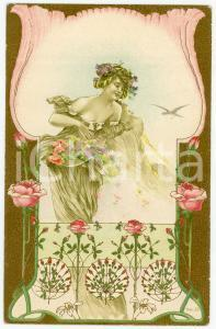 1900 ca ART NOUVEAU Lady with roses - Illustrated embossed golden postcard