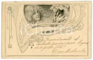 1900 ca ART NOUVEAU Lady with flowers - Illustrated grey postcard