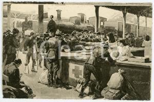 1915 ca WW1 MILANO Stazione Centrale - Ristoro soldati - Ill. Riccardo SALVADORI