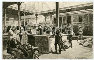1915 ca WW1 MILANO Stazione Centrale - Ristoro soldati *Ill. Riccardo SALVADORI