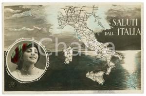 1915 SALUTI DALL'ITALIA Rete ferroviaria italiana - Cartolina FP VG