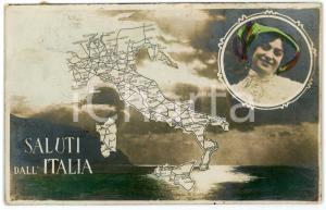 1911 SALUTI DALL'ITALIA Rete ferroviaria italiana - Cartolina FP VG