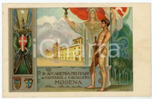 1930 ca MODENA R. Accademia Militare Fanteria Cavalleria - Cartolina ill. VICO