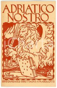 1920 ca Rivista ADRIATICO NOSTRO - Cartolina ill. Guido MARUSSIG Pubblicitaria