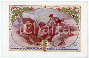 1915 ca WW1 - NATALE - Soldati di varie nazioni suonano al fronte *Cartolina