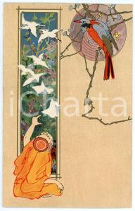 1904 JAPAN Man looking at flying birds - Postcard The Wrench Series n. 7146