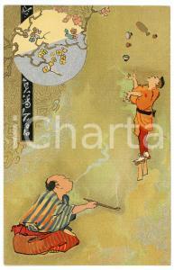 1905 ca JAPAN Smoker looking at a juggler - Illustrated postcard
