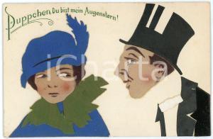 1915 ca GERMANY Puppchen, du bist mein Augenstern *Postcard collage REAL CLOTH