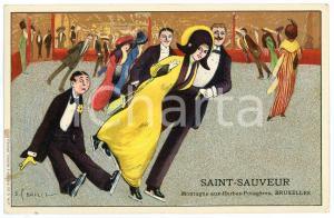 1910 ca BRUXELLES Ice skaters - Postcard ill. S. BAILIE - SAINT-SAUVEUR (2)