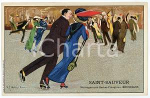 1913 BRUXELLES Ice skaters - Postcard ill. S. BAILIE - SAINT-SAUVEUR (1)