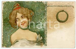 1902 ART NOUVEAU - Mosaic - Lady with snake - Illustrated postcard