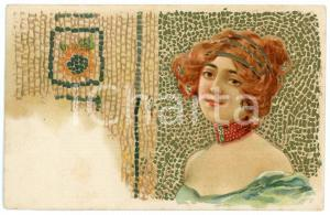 1902 ART NOUVEAU - Mosaic - Lady with sunflower - Illustrated postcard