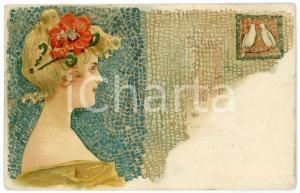 1902 ART NOUVEAU - Mosaic - Lady with birds- Illustrated postcard