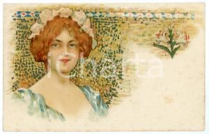 1902 ART NOUVEAU - Mosaic - Lady with lilies - Illustrated postcard