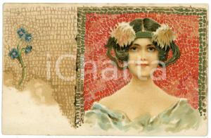 1902 ART NOUVEAU - Mosaic - Lady with flowers - Illustrated postcard
