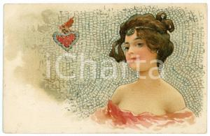 1902 ART NOUVEAU - Mosaic - Lady with heart - Illustrated postcard