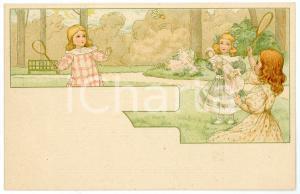 1900 ca CHILDREN - SPORTS - Little girls playing badminton - Postcard
