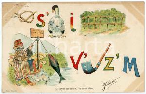 1904 FRANCE Ne soyez pas triste, on vous aime - Carte postale REBUS CPA