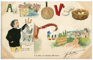 1904 FRANCE A la hâte, un souvenir affectueux - Carte postale REBUS CPA