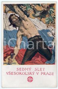 1920 PRAGUE VII Sletu Vsesokolskému - Postcard illustrated Jak. OBROVSKEHO
