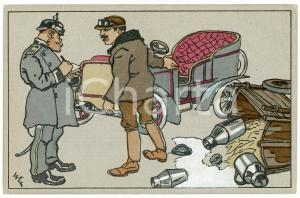 1910 ca GERMANY - Car accident - Illustrated old postcard