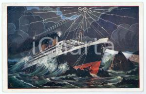 1931 HOLLAND Ship in distress - SOS - Illustrated postcard
