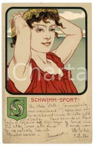 1905 GERMANY DEUTSCHER SPORT - Schwimm - Woman - Old postcard