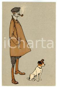 1920 ca Hunter with his dog - ILLUSTRATED old postcard