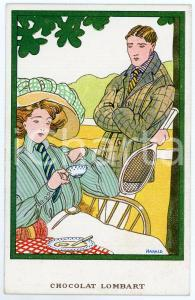 1910 ca Artist HARALD - Lunch - Postcard Chocolat LOMBART