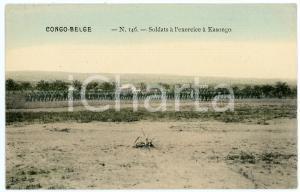 1910 ca CONGO BELGE Soldats à l'exercice à KASONGO Carte postale N.146 FP NV