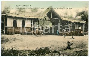 1910 CONGO BELGE Chemin de fer des GRAND LACS Habitation à KINDU Carte postale