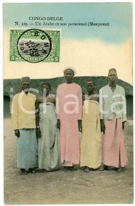 1911 CONGO BELGE - MANYEMA Arabe et son personnel - Carte postale n.129 FP VG