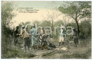 1910 ca CONGO BELGE - TANGANYKA Dépecage d'une antilope - Carte postale n.151 FP
