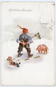 1914 Glückliches Neujahr! - Artist Erwin GRANNER - Gnome in the snow with pig