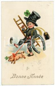 1933 BONNE ANNÉE Little chimney sweep with horshoe and pig on a leash *Postcard
