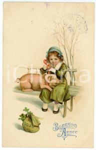 1913 BONNE ANNÉE  Little girl on a bench with pig - French vintage postcard