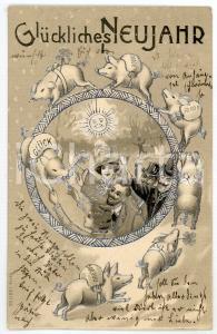 1904 Glückliches Neujahr - Men and women with lucky pigs - Embossed Postcard