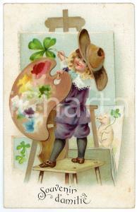 1907 SOUVENIR D'AMITIÉ - Child painting four-leaf clover - Embossed Postcard
