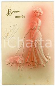 1923 BONNE ANNÉE - Woman bringing pigs on leash - Embossed postcard