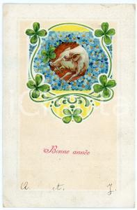 1912 BONNE ANNÉE Lucky pig with flowers and four-leaf clover - Embossed postcard