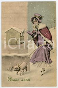 1923 BONNE ANNÉE Woman posting a letter with a pig on the lead - French Postcard