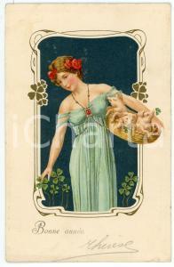 1907 ART NOUVEAU - Bonne Année -  Woman with pigs and four-leaf clover *Postcard